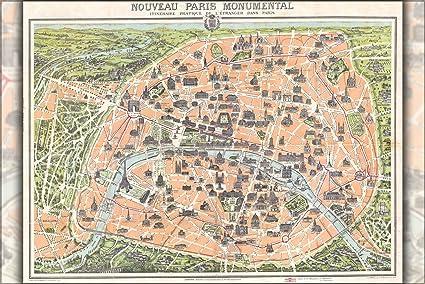 Cartina Politica Di Parigi.1900 Mappa Di Parigi Francia Che Mostra Torre Eiffel Poster 61 X 91 4 Cm Riproduzione Amazon It Casa E Cucina