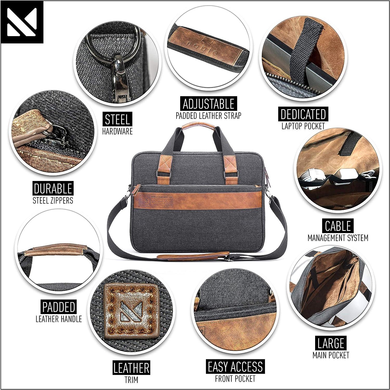 Noble Threads Messenger Briefcase 15.6 Laptop Bag with Leather, Velvet, Denim