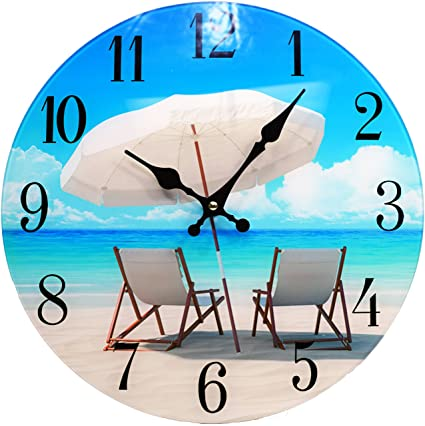 Amazon.com: Beach Chair Glass Wall Clock New-13-X-13--Home-Wall ...