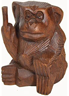 6 Inch Rude Monkey Flipping The Bird Middle Finger Wooden Statue  WorldBazzar Brand