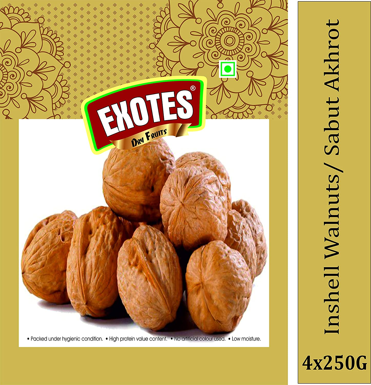 Exotes Brand Special Quality Walnut Inshell, 4 X 250 g