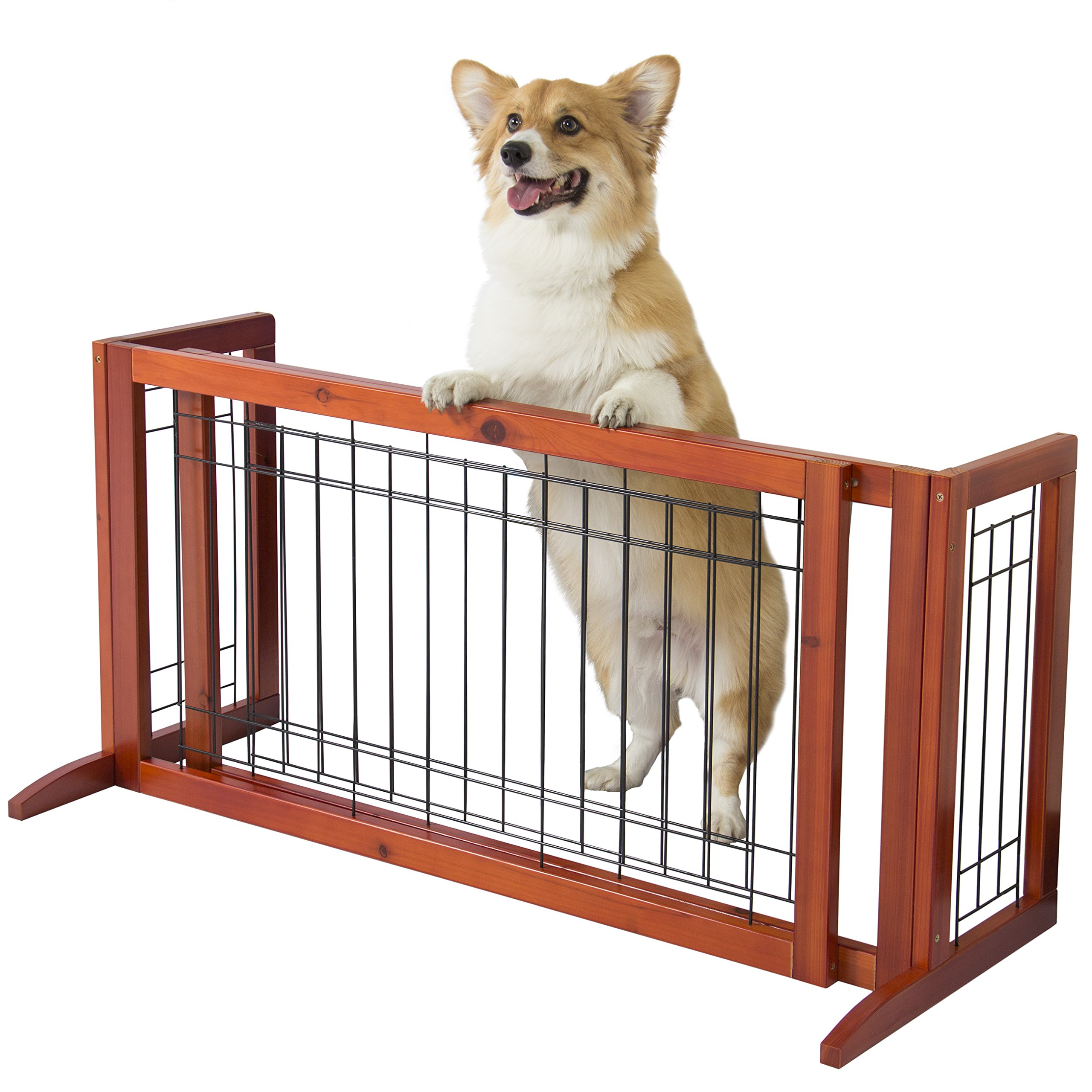 Best Choice Products Adjustable Freestanding Pet Dog Fence Gate for Small Animals, Indoor - Brown