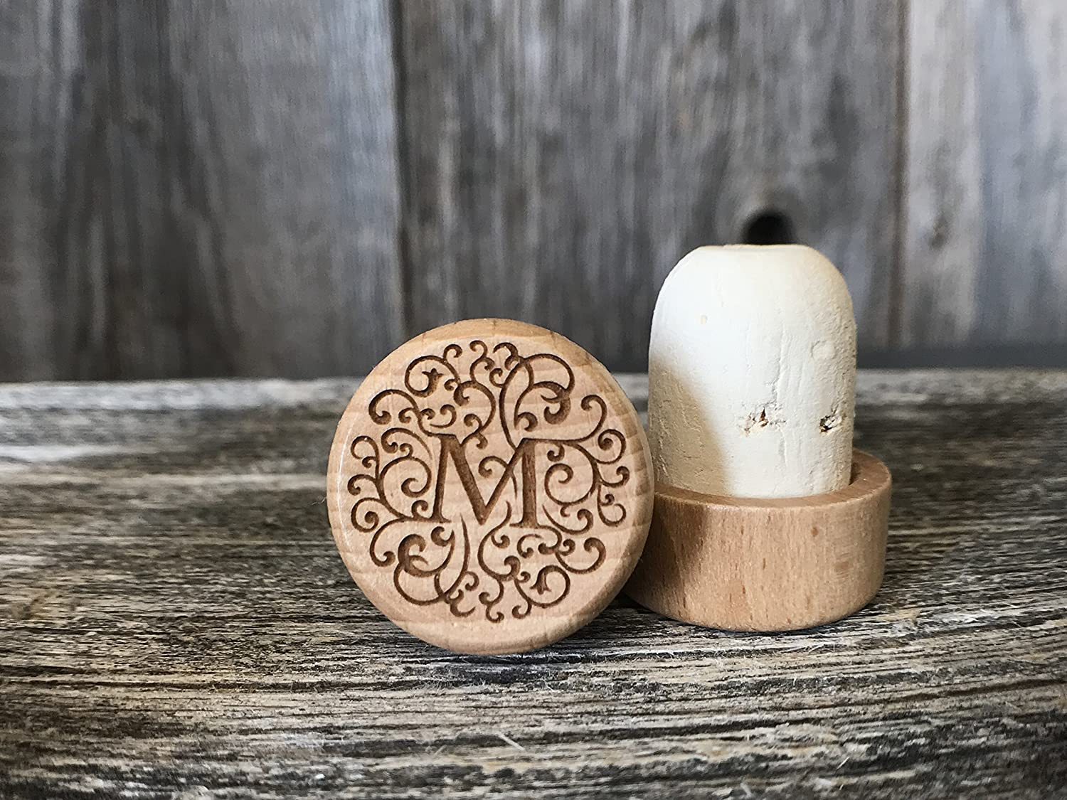Laser Engraved Wood/Cork Wine Stopper - Rustic and Classic Monogram Series