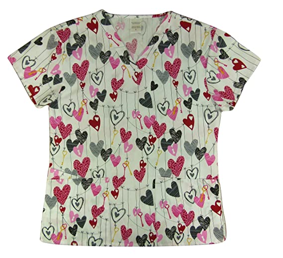 1b9e91b6153 CaringPlus Scrubs Women's Top V-neck Printed Valentine's Key to My Heart ...