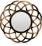 """MONOINSIDE® Small Round Framed Wall Mount Glass Mirror, Retro Design, Distressed Gold Colored Plastic Circular Frame, 10.25"""" in Diameter"""