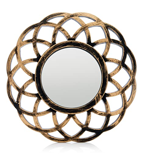 Monoinside Small Round Framed Wall Mount Glass Mirror Retro Design Distressed Gold Colored Plastic Circular Frame 10 25 In Diameter
