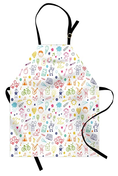 Amazon Com Ambesonne Doodle Apron Childlike Drawing Of Children