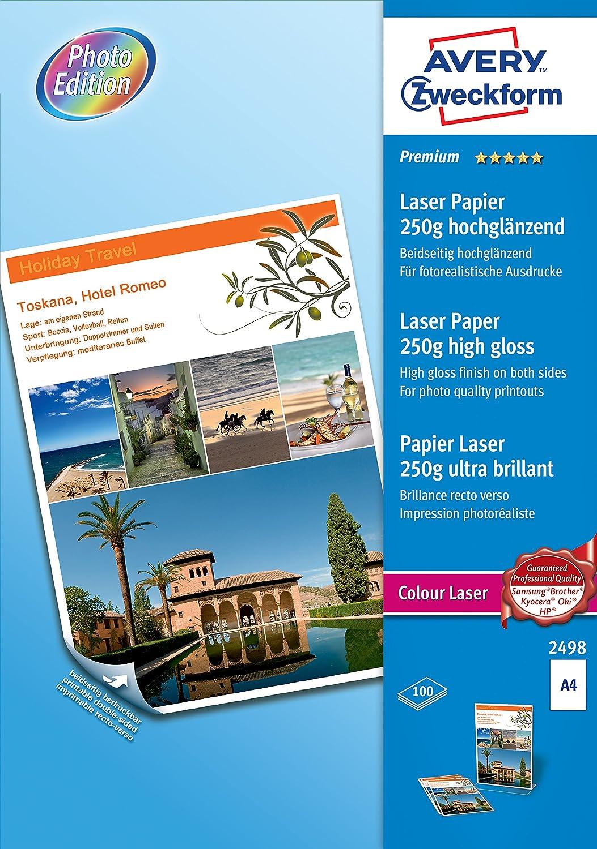 Avery - 2498 - 100 Feuilles de Papier Photo Premium Blanc Brillant - A4 - Impression Laser Avery Dennison consommables