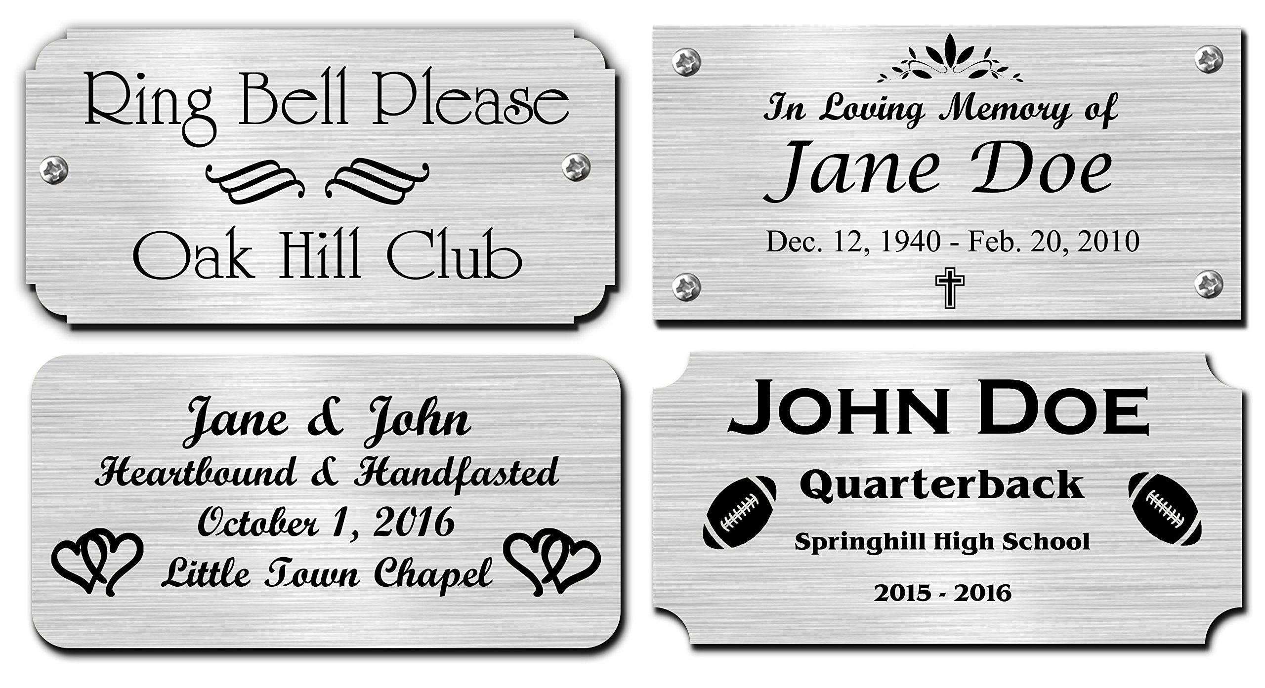 2'' H x 4'' W, Silver Finish Solid Copper Nameplate Personalized Custom Laser Engraved Label Art Tag for Frames Notched Square or Round Corners Made in USA