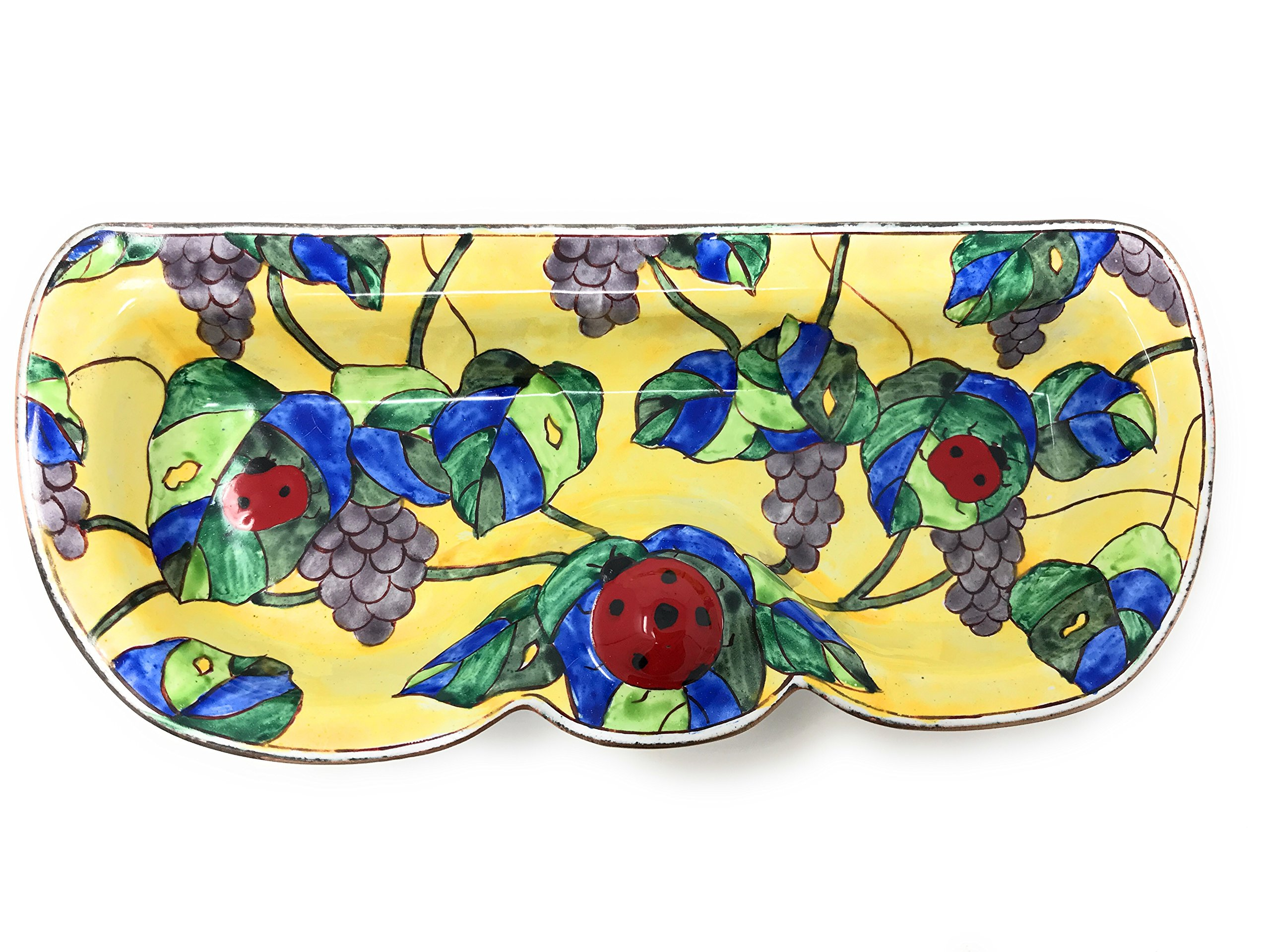 Kelvin Chen - Ladybug and Grapevine - Enameled Eyeglass Holder/Tray, 6.75 Inches Wide by Kelvin Chen