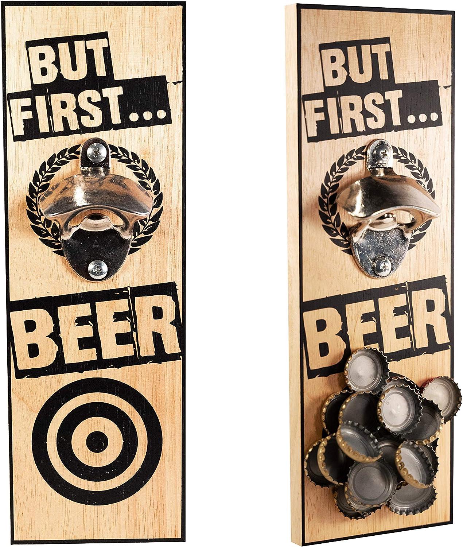 "Bottle opener wall mounted | Wall bottle opener | Magnetic beer cap catcher | ""But first… Beer!"" Funny bottle opener"