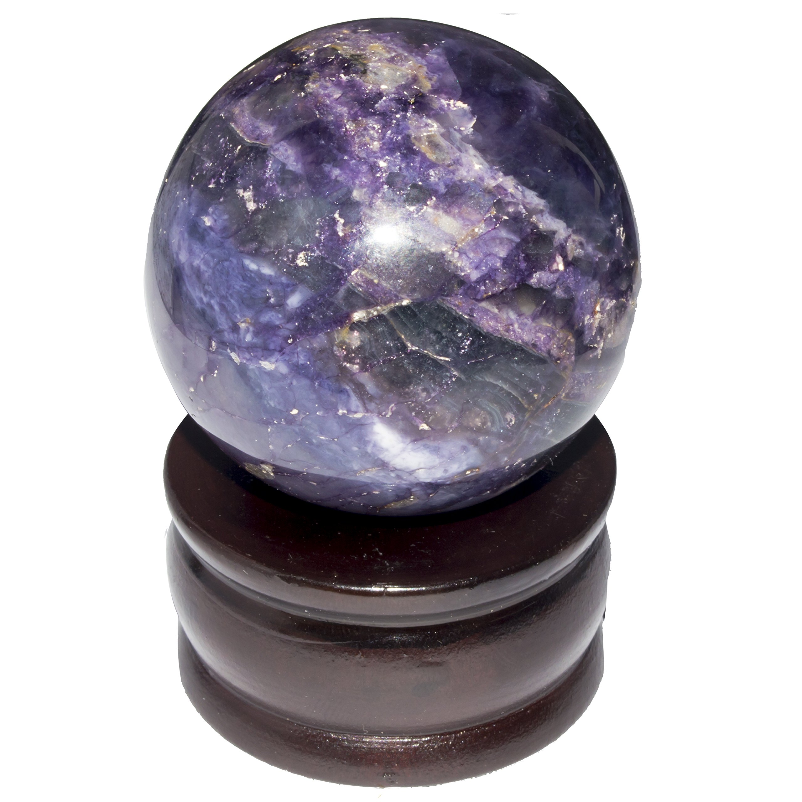 Crocon Iolite Reiki Healing Sphere Ball Gemstone Energy Generator For Aura Cleansing Chakra Balancing & EMF Protection 50-60mm
