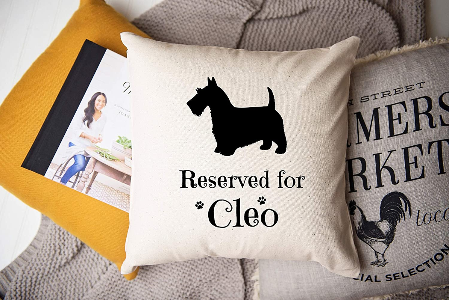 Handsome White Scottie Cover only Pillow 18x18 in Multi tone on beige background with a welt cord accent to compliment.