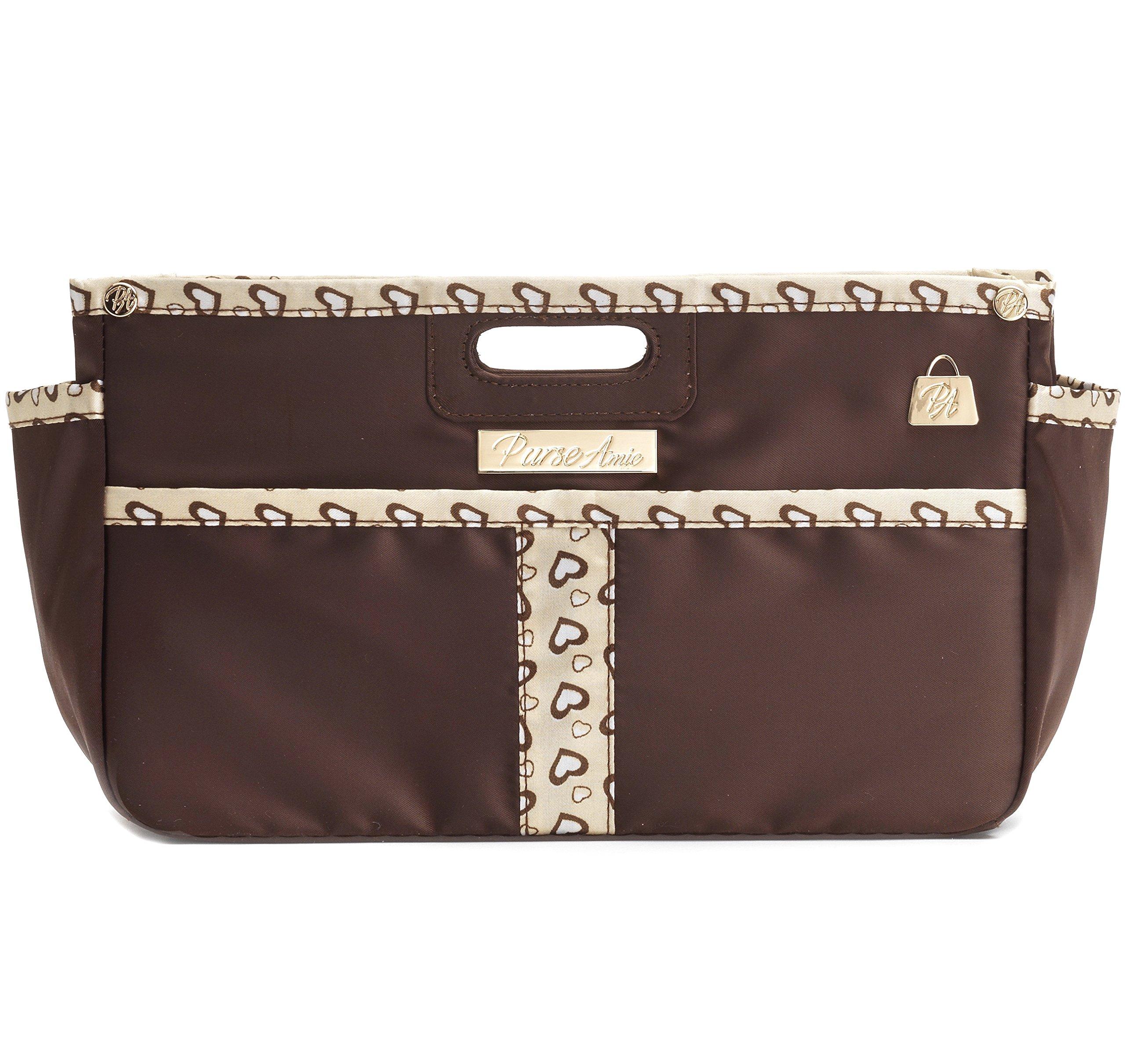 PurseAmie Brown Purse Organizer Insert, Handbag Liner, Brown Bag Shaper, Tote Bag Organizer for LV, Goyard, Prada, Bag in Bag, Diaper Bag Organizer (5 Colors, 3 Sizes) (Small, Brown)