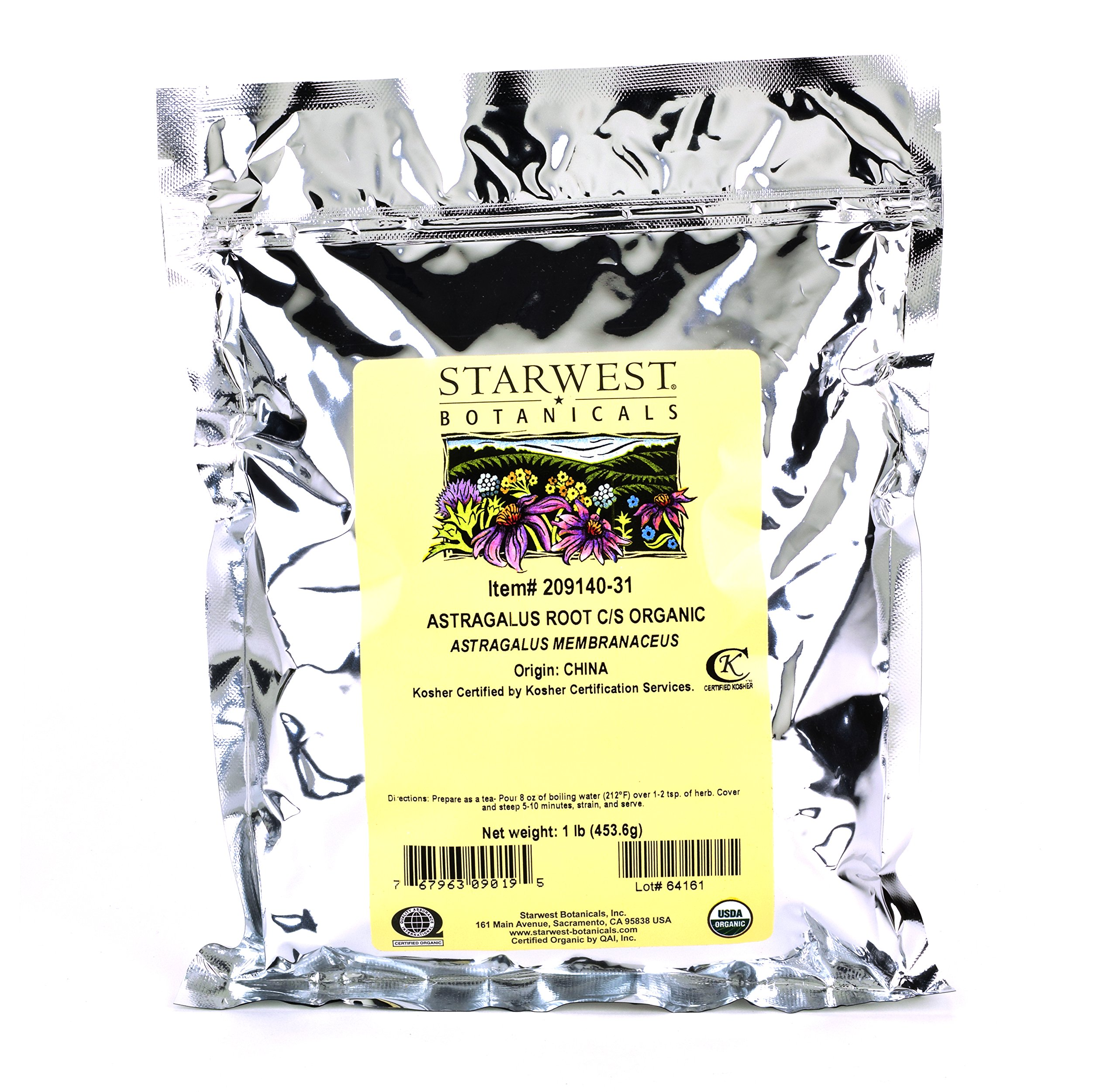 Starwest Botanicals Organic Astragalus Root Cut and Sifted, 1 Pound Bulk