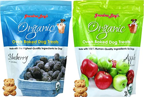 Grandma Lucy s Organic Oven Baked Dog Treats Variety Pack – 2 Flavors Apple and Blueberry – 14 Ounces Each 2 Bags Total