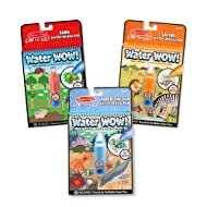 """Melissa & Doug Water Wow! Reusable Color with Water Activity Pad 3-Pack, Farm, Safari, Under the Sea, 10"""" H x 6"""" W x 0.5"""" L"""