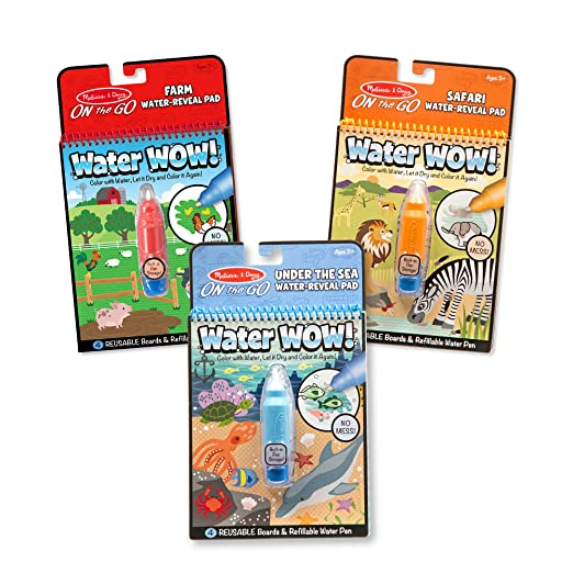 Melissa & Doug Water Wow! Reusable Color With Water Pad 3-Pack - Farm, Safari, Under the Sea