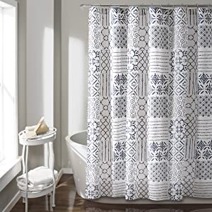 "Lush Decor Blue, 72"" x 72"" Monique Shower Curtain"
