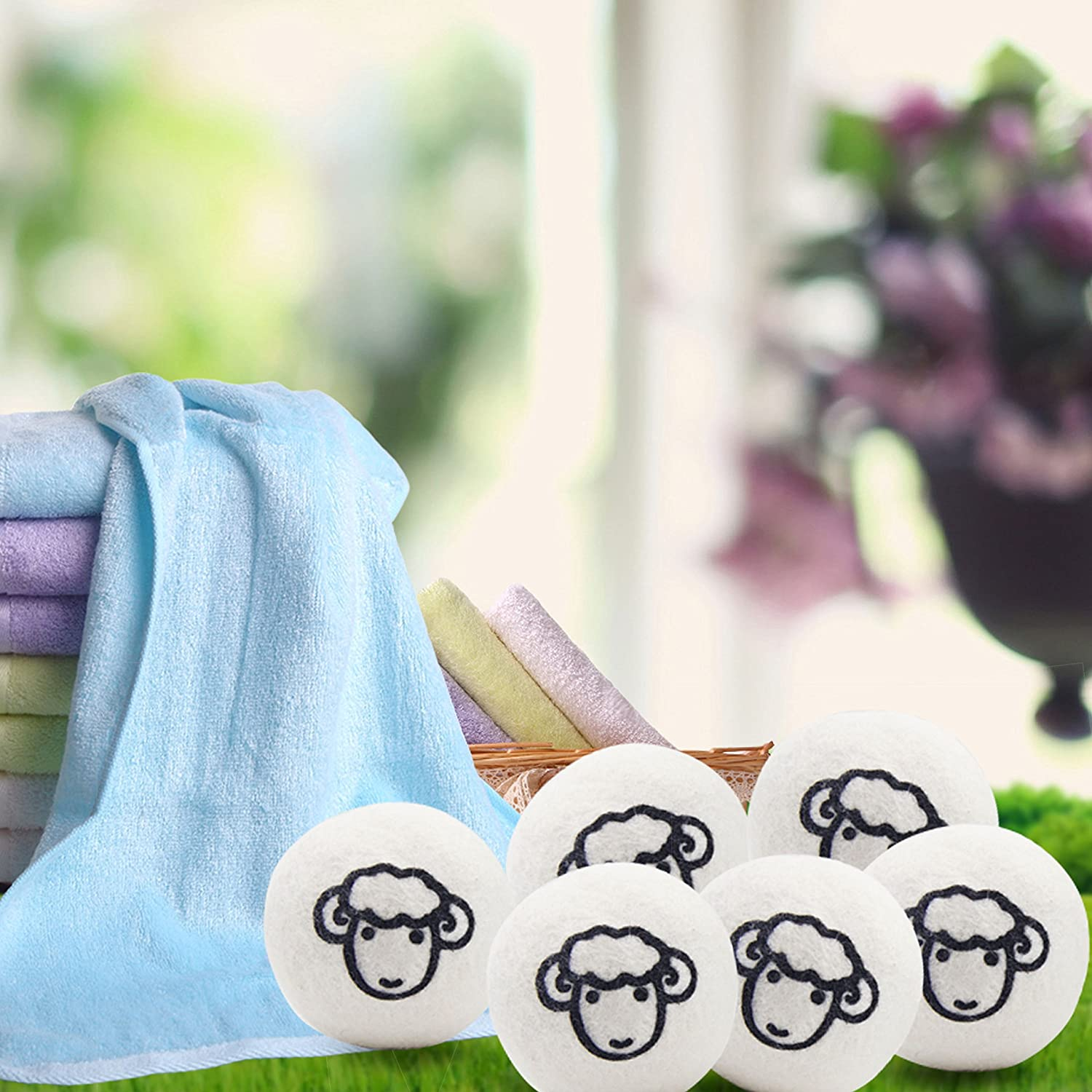 Reusable Natural Non-Toxic Fabric Softener Static Reducer Reduces Drying Time Echoss Wool Dryer Balls Organic 6 Pack XL 100/% Pure New Zealand Wool