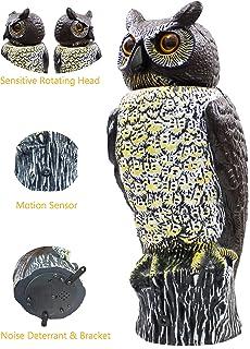 Scarecrow Owl Decoy With Rotating Head U0026 Anti Bird Noise, Mounting Bracket  Included,