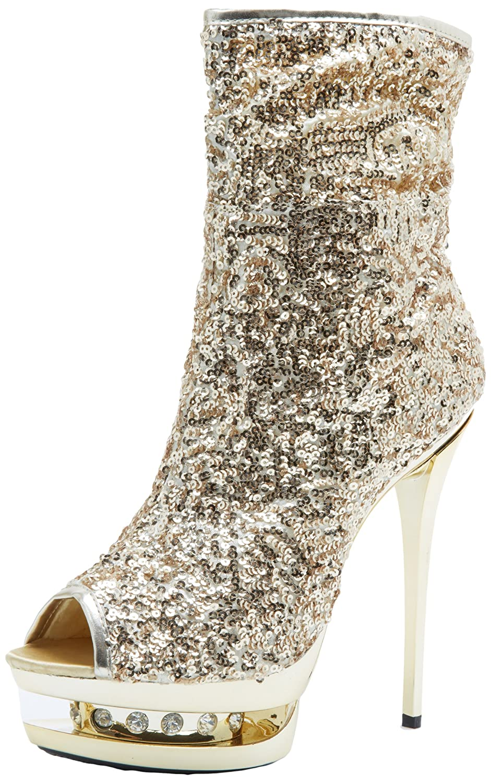 The Highest Heel Women's Diamond-31 Boot B0053OBDEU 7 B(M) US Gold Sequins