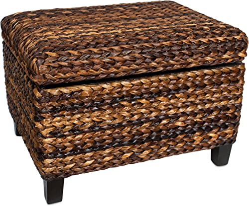 BIRDROCK HOME Woven Seagrass Storage Ottoman – with Safety Hinges
