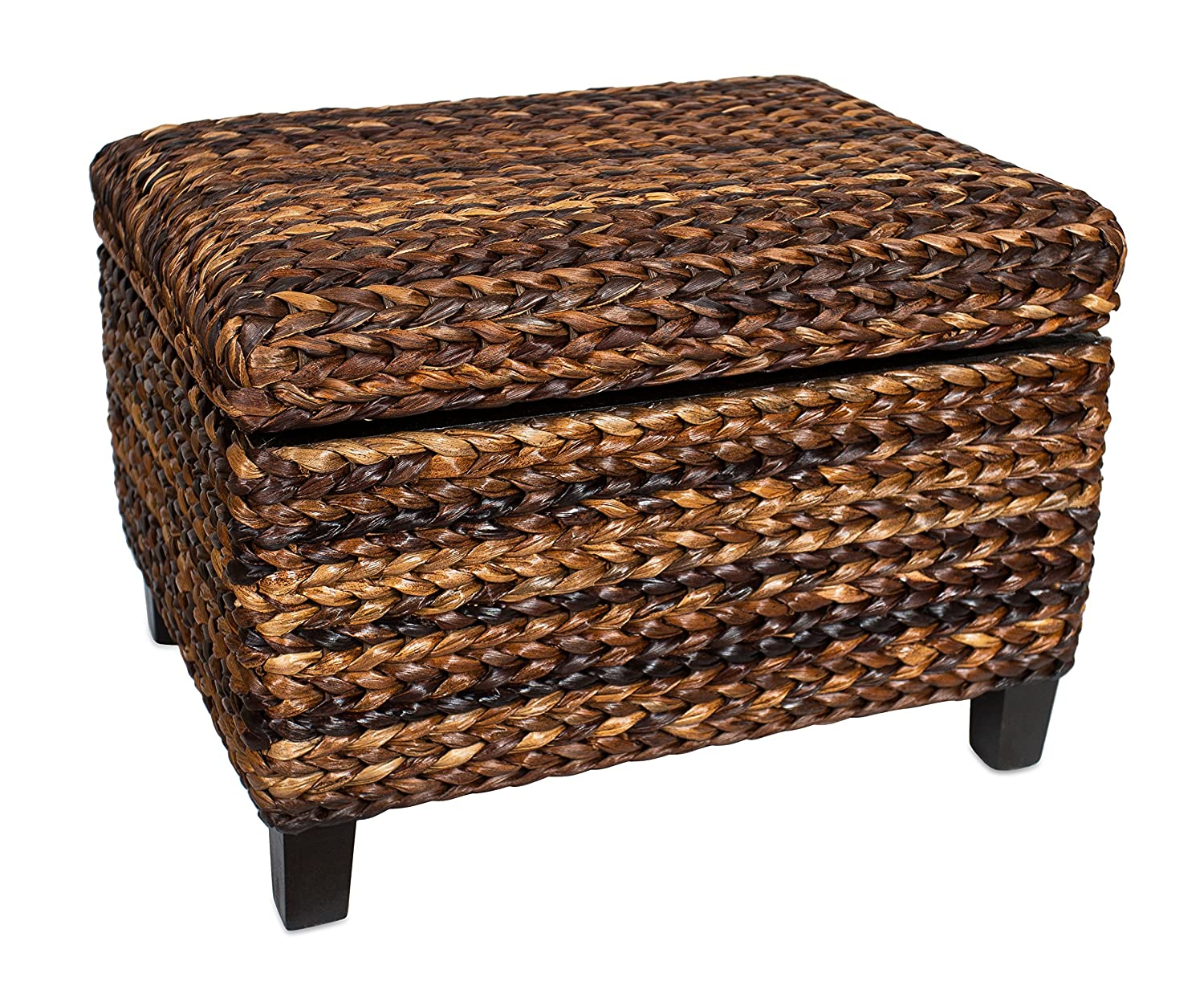 Phenomenal Birdrock Home Woven Seagrass Storage Ottoman With Safety Hinges Lamtechconsult Wood Chair Design Ideas Lamtechconsultcom