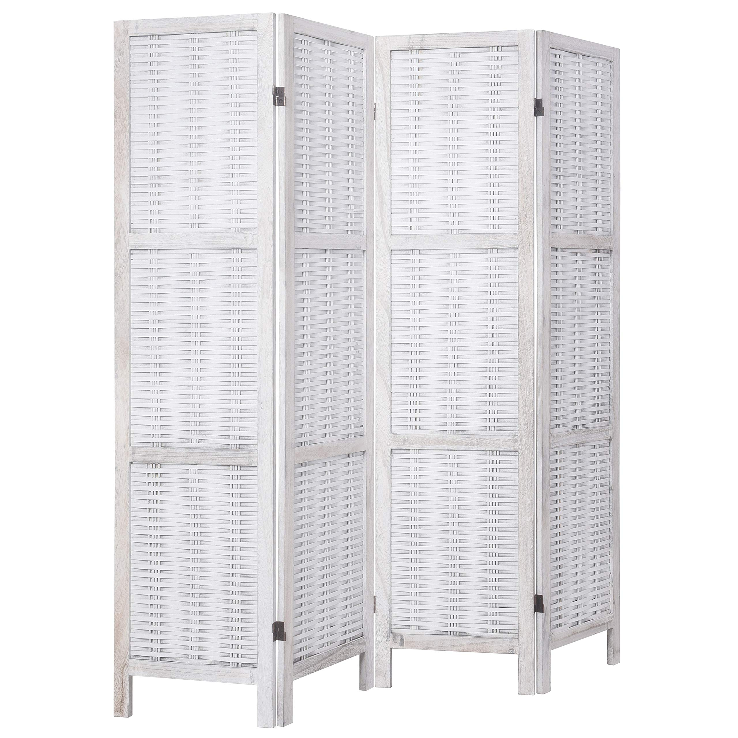 RHF 5.6ft.Tall Bamboo Woven 4 screen Panels Room Divider/4 Panels Screen Folding Privacy Partition Wall Room divider Paulownia Wood Screen, Freestanding 4 Panel 5.6-Feet, Bamboo,White by Rose Home Fashion