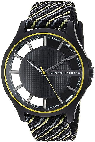 36f833db9c6a Armani Exchange para hombre negro y amarillo tela reloj ax2402 ...