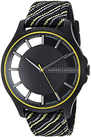 Image Unavailable. Image not available for. Color  Armani Exchange Men s  Black and Yellow Fabric Watch AX2402 d91298a1f9
