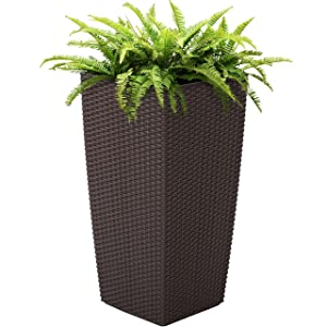 Best Choice Products Self Watering Wicker Planter w/Water Level Indicator, Rolling Wheels for Indoor, Outdoor - Brown