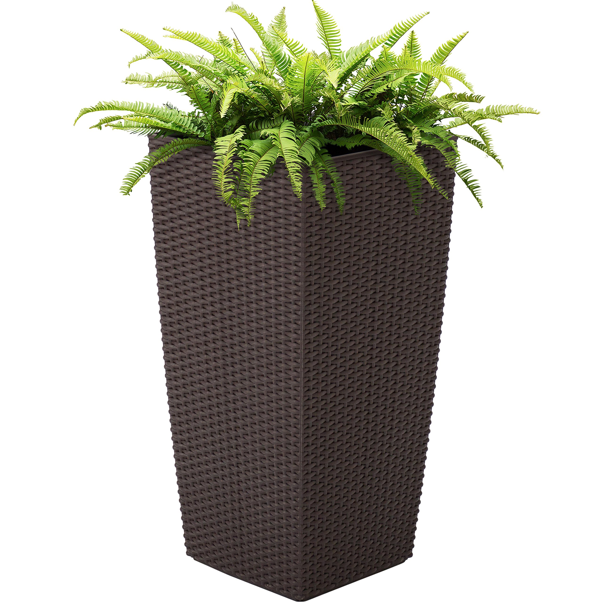 Best Choice Products Self Watering Wicker Planter w/Water Level Indicator, Rolling Wheels for Indoor, Outdoor - Brown by Best Choice Products