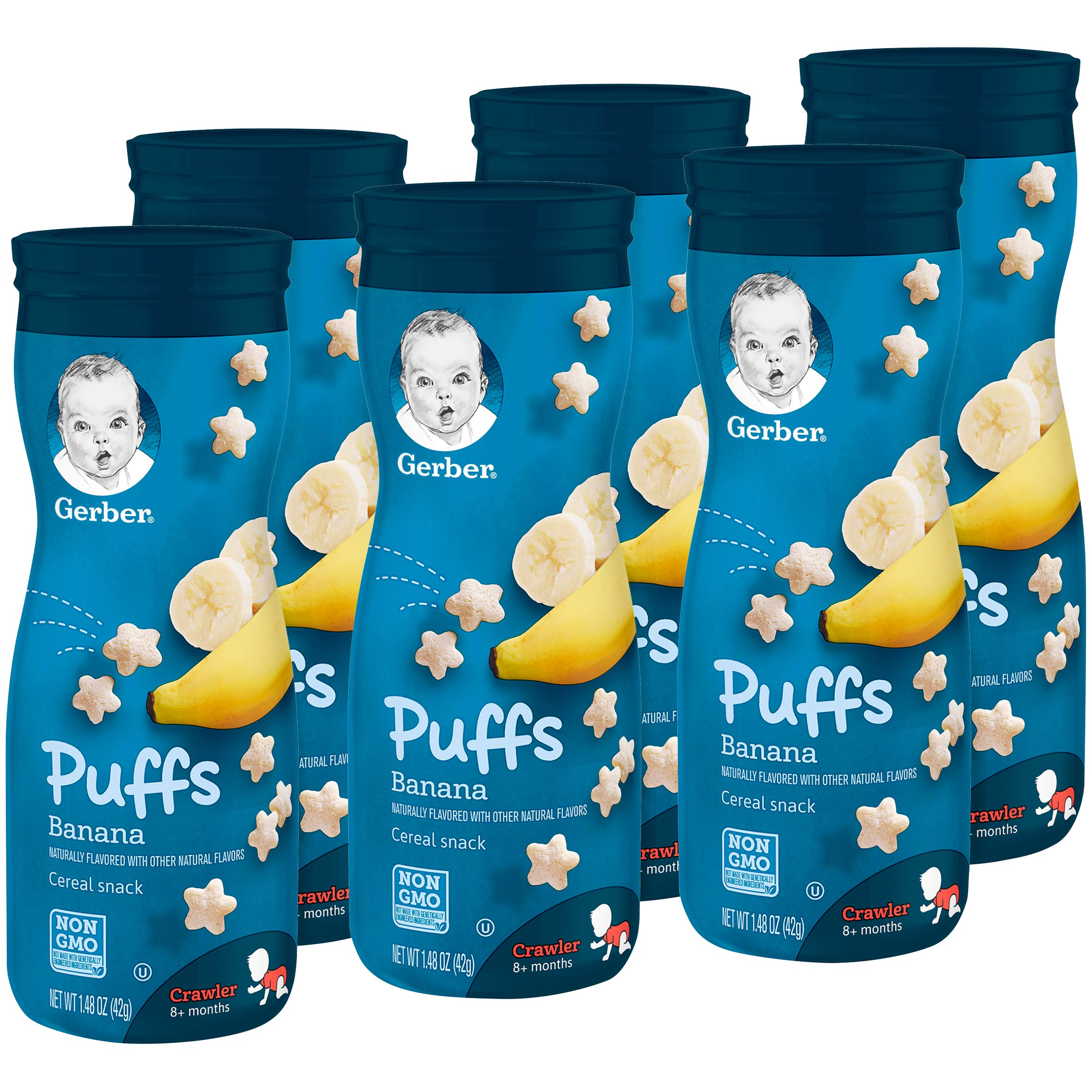 Gerber Graduates Puffs Cereal Snack, Banana, Naturally Flavored with Other Natural Flavors, 1.48 Ounce, 6 Count (Pack May Vary)