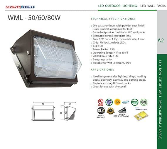 70,000 Hour Westgate LED Semi Cutoff Wall Pack Fixture Wet Location