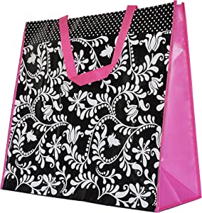 ReBagMe Extra Large Very Strong Reusable Grocery Bag - Laminated Recycled Shopper Tote- Very Large Gift Bag- Great Waterproof Beach Bag (19x17x8 Inches, Black. White and Pink)