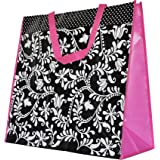 ReBagMe™ Extra Large Very Strong Reusable Grocery Bag - Laminated Recycled Shopper Tote- Very Large Gift Bag- Great Waterproof Beach Bag (19x17x8 Inches, Black. White and Pink)