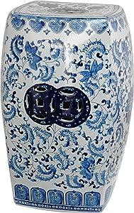 "Oriental Furniture 18"" Square Floral Blue & White Porcelain Garden Stool"