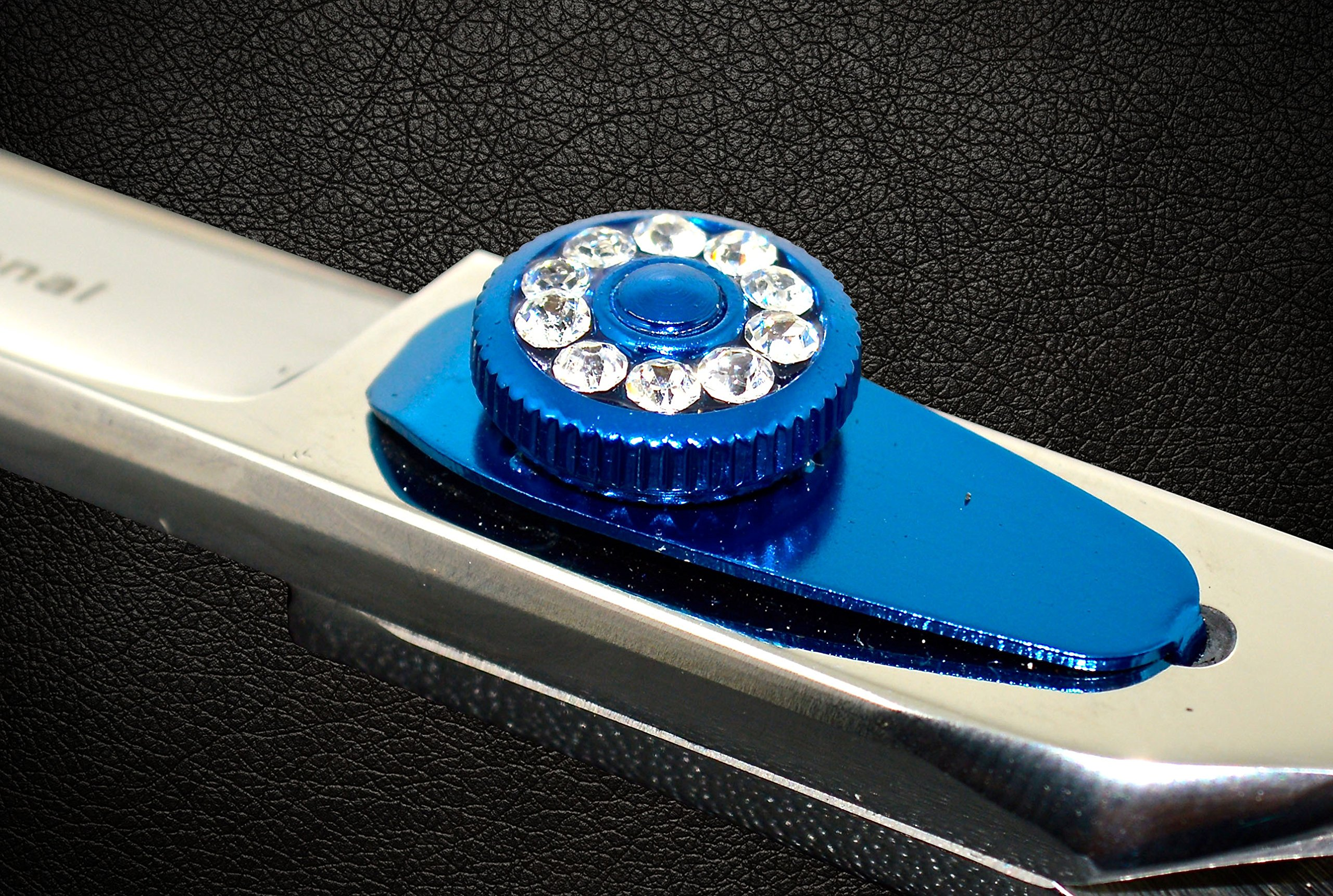Equinox Professional Razor Edge Series - Barber Hair Cutting Scissors/Shears - 6.5'' Overall Length - Beautiful White Diamond Stones with Blue Chromium Fine Adjustment Tension Screw by Equinox International (Image #4)