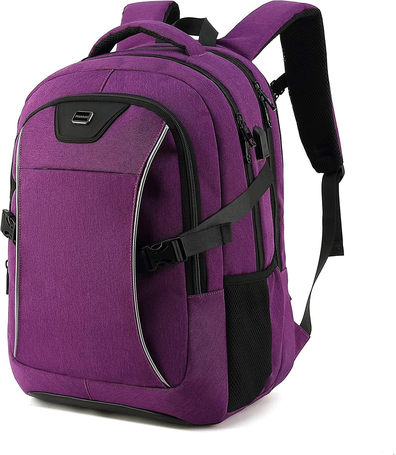 Travel Laptop Backpack, Drop Protection Computer Backpacks Durable Hiking Work Business Daypack Water Resistant Schoolbag with USB Charging Port, Gifts for Men Women Boys Girls fits 15.6 Inch Laptops(15.6 Inch, Purple)