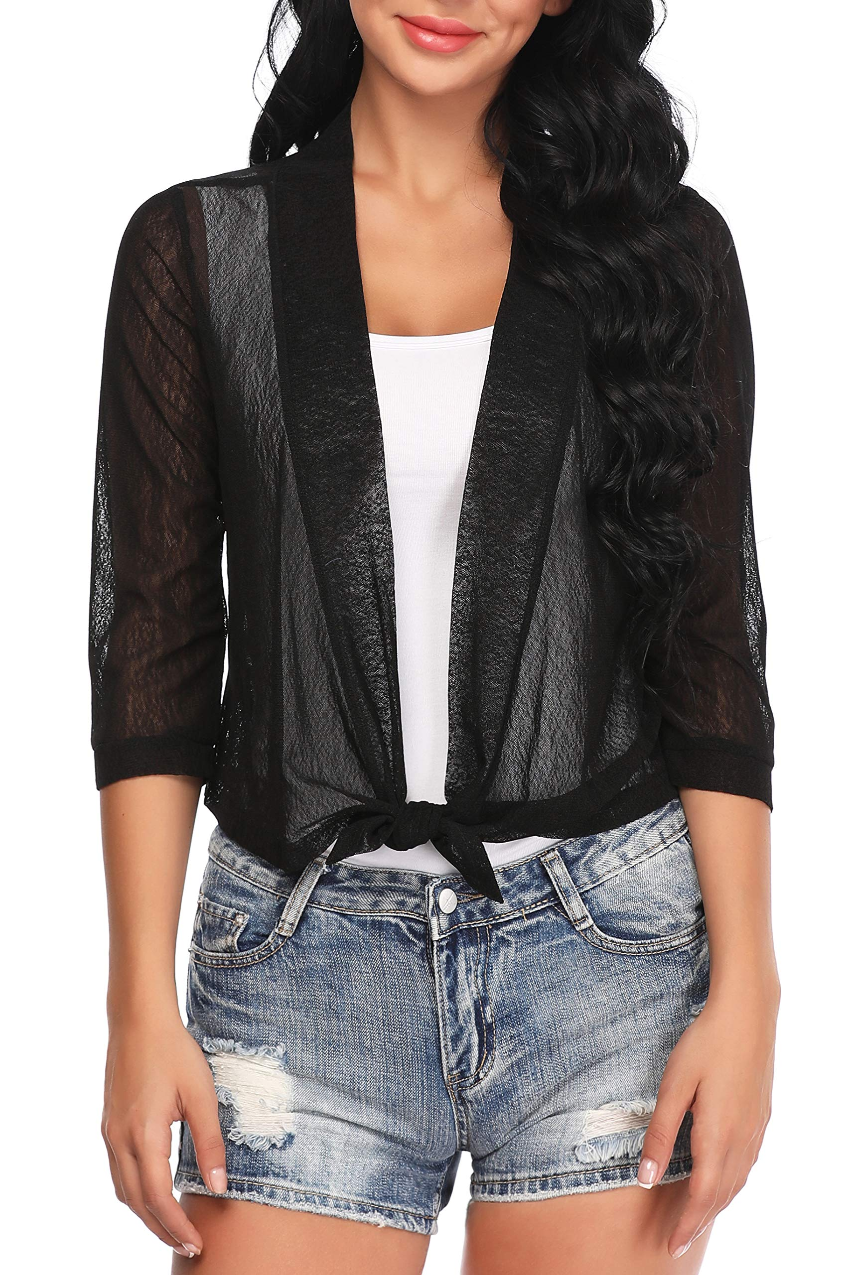 Aranmei Womens Sheer Shrug Cardigan Tie Front 3/4 Sleeve Bolero Jacket(Black, X-Large)