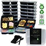 HamgoO [20 Pack] 3 Compartment Meal Prep Containers with Lids - Food Storage Bento Box Made of BPA Free Plastic, Stackable, Reusable, Microwavable, and Freezer Safe, Includes 20pcs Sporks