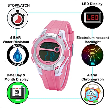 DIRAY Digital Steel Style Dial Alarm Multi-Functions Sports Watch for Kids