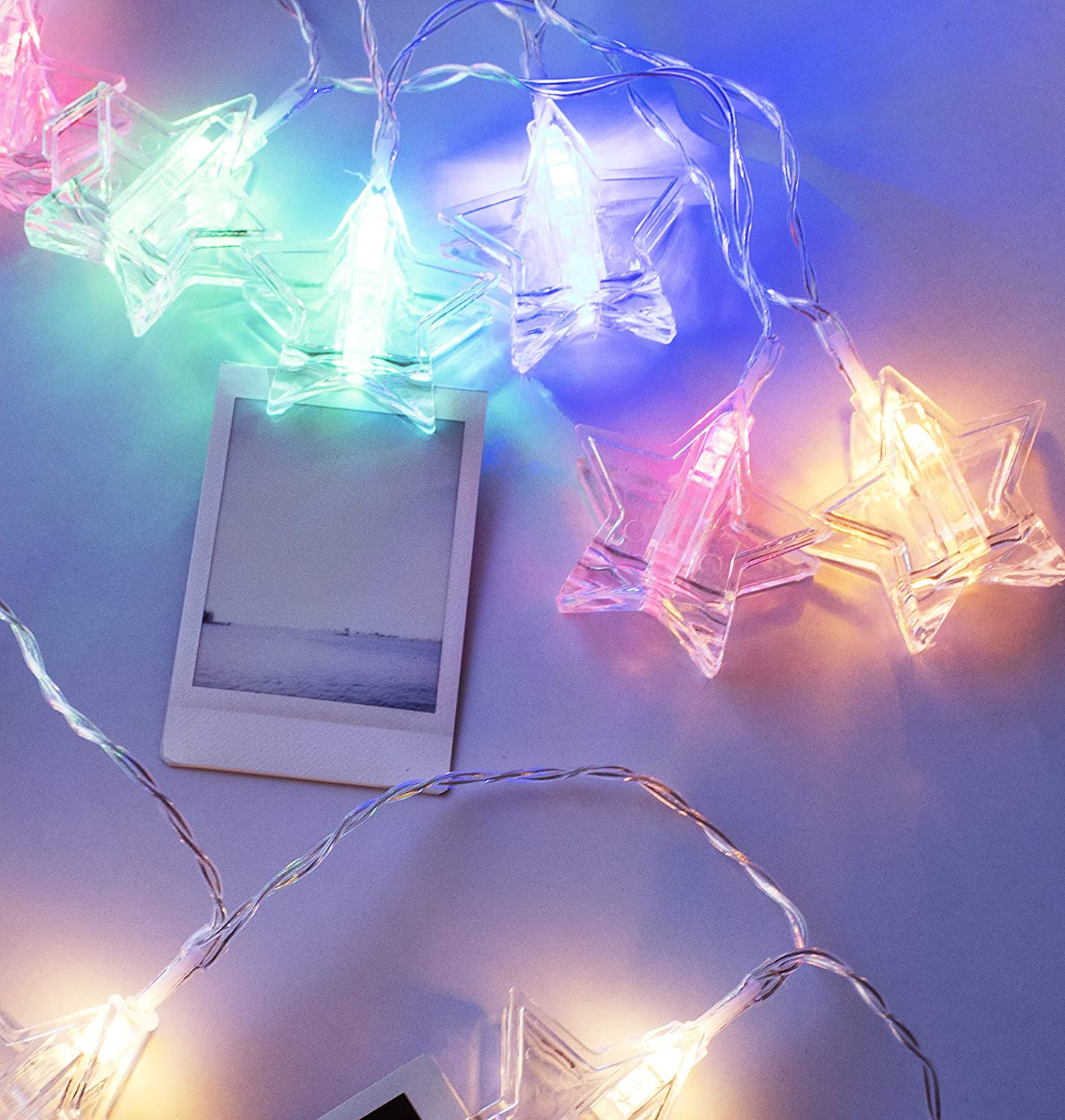 LuxLumi Star Nebula Photo Clip 20 LED String Lights for Hanging Pictures or Notes Apartment Bedroom Home College Dorm Decor Kids Teens Nursery 4th of July Summer (Multi 7.5FT)