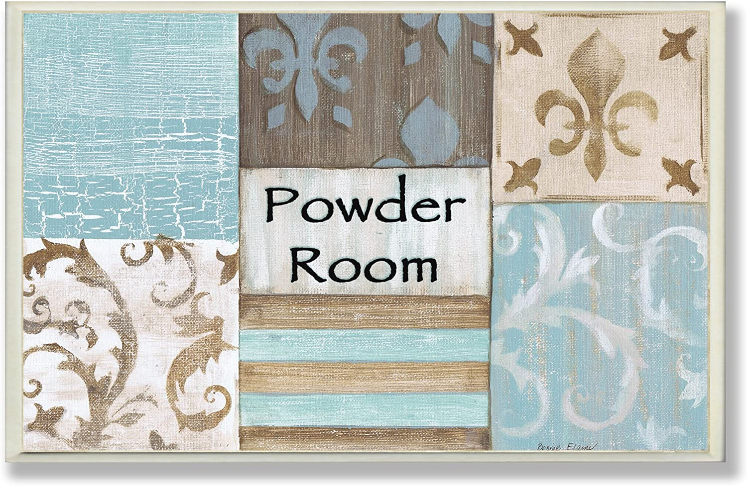 Stupell Industries The Stupell Home Decor Collection Fleur de Lis Powder Room Blue, Brown and Beige Bathroom Wall Plaque, 13 x 19, Design by Artist Bonnie Wrublesky