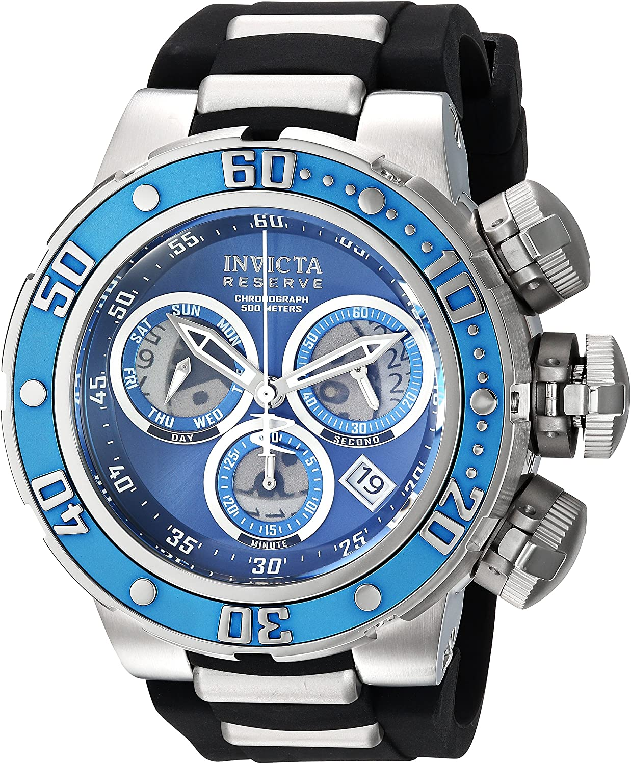 Invicta Men s Reserve Stainless Steel Quartz Watch with Silicone Strap, Black, 30 Model 21643