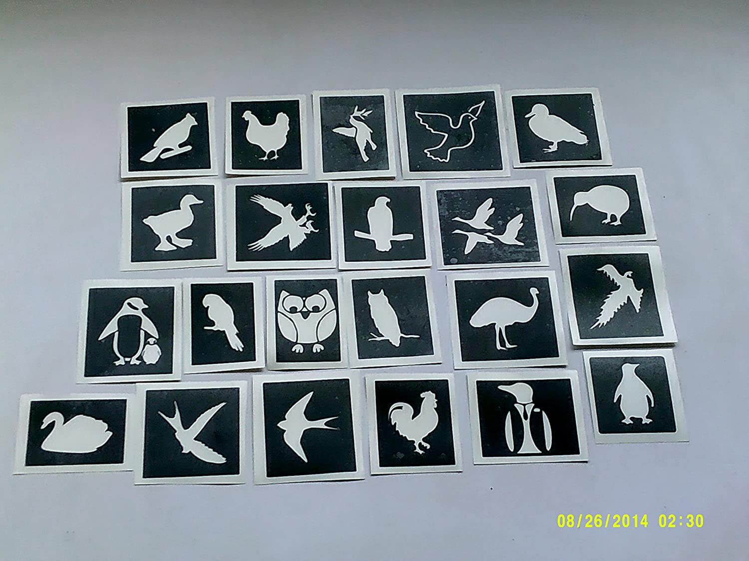 10 x bird themed stencils for etching on glass (mixed) penguin swan geese eagle Dazzle Glitter Tattoos