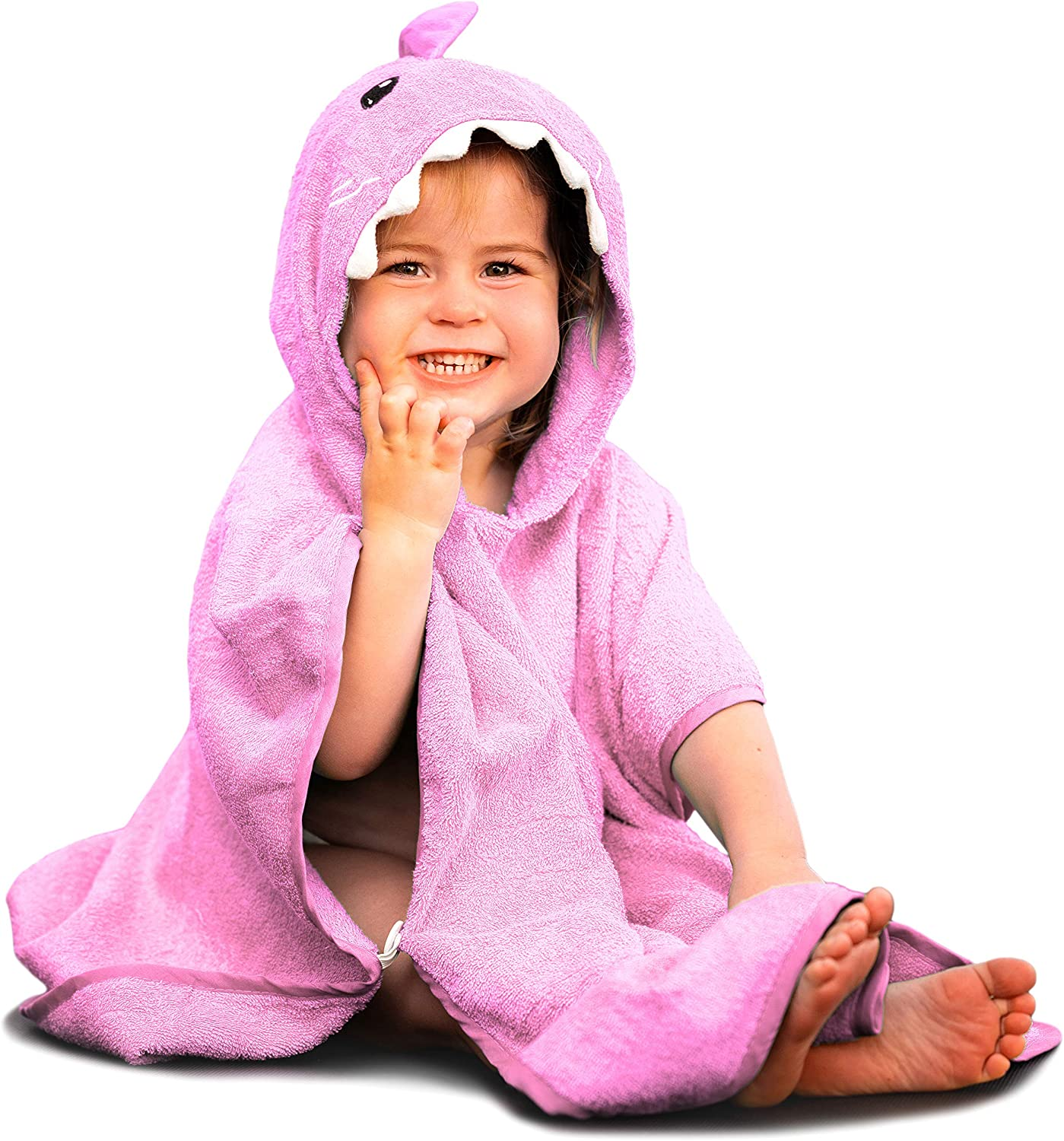 Hudz Kidz Premium Hooded Towel Poncho for Kids & Toddlers, Soft 100% Cotton, Ideal at Bath, Beach, Pool (Pink Shark)