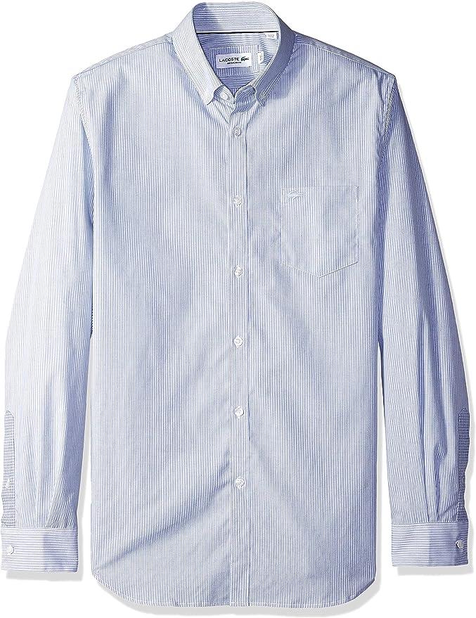 Lacoste Hombre CH0432-51 Manga Larga Camisa de Botones - Azul - 38: Amazon.es: Ropa y accesorios
