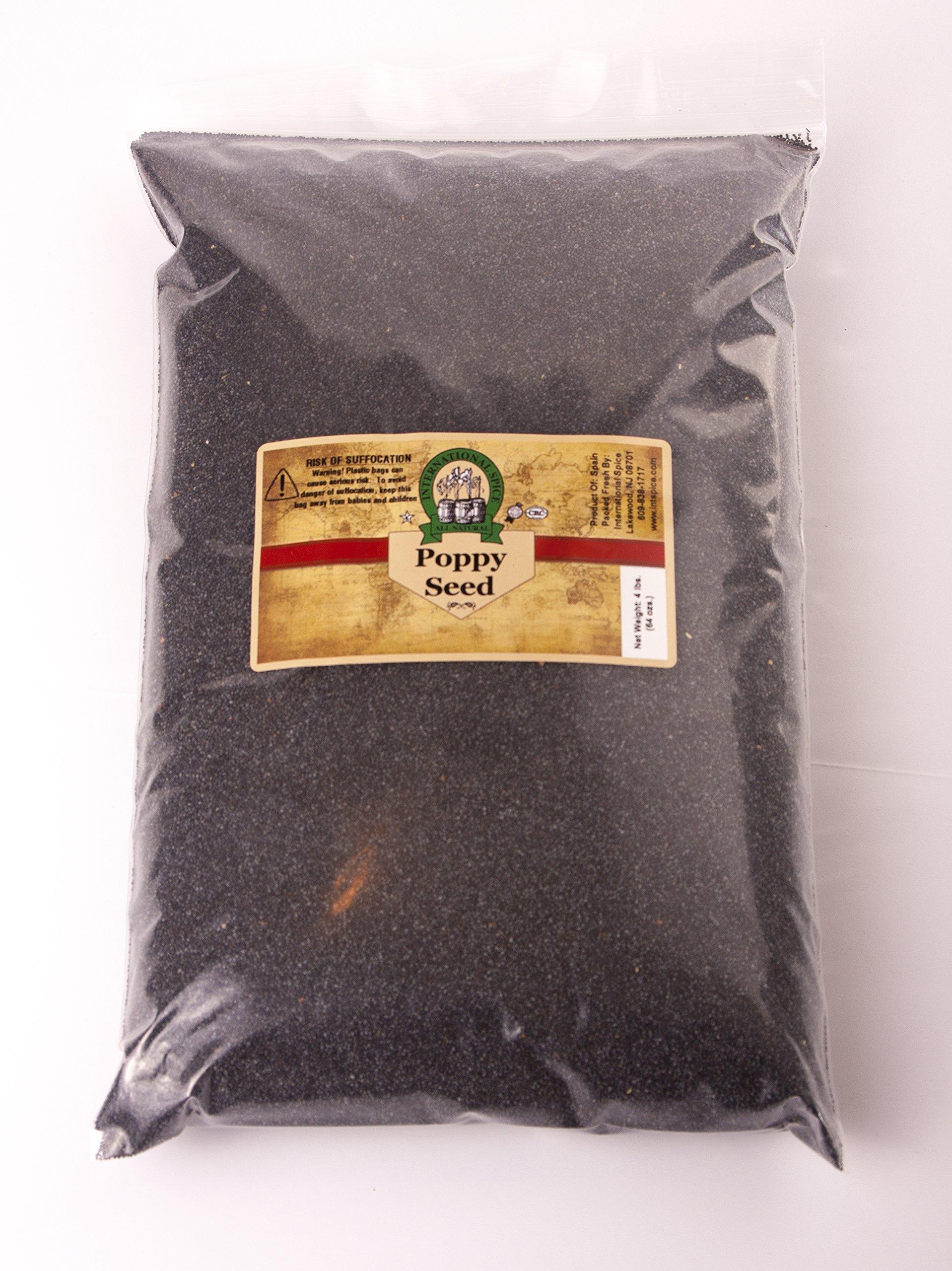 INTERNATIONAL SPICE- POPPY SEEDS - 4 Pounds, (Variety: Blue; Grade: A-1) (4 LBS)